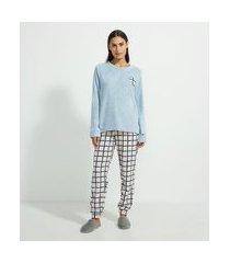 pijama longo em fleece estampa xadrez e coração | lov | azul | m
