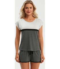 pijama recco curto viscose stretch cinza