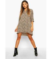 gesmokte jurk met knoopsluiting met luipaardprint, naturel