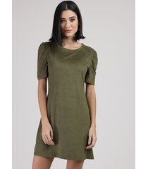 vestido de suede feminino curto manga bufante verde militar