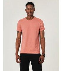 camiseta slim bordada em malha malwee rosê - pp