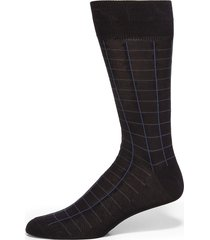 saks fifth avenue made in italy men's windowpane cotton dress socks - brown