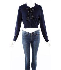 altuzarra knit tie neck blue wool cashmere silk cardigan sweater blue sz: m