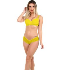 conjunto imi lingerie em renda fio duplo galisteu amarelo