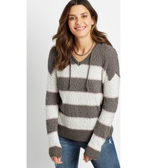maurices womens brown stripe hooded pullover sweater