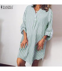 zanzea para mujer de manga larga a rayas botones en la camisa ocasional floja mini vestido de gran tamaño -verde