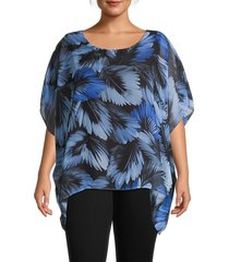 karen kane women's plus layered leaf-print top - print - size 2x (18-20)
