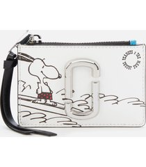 marc jacobs women's snapshot peanuts americana top zip multi wallet - white multi