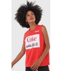 regata coca-cola jeans lettering vermelho