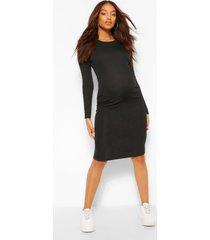 positiekleding geribde bodycon-jurk, zwart