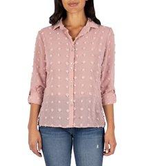 women's kut from the kloth billa clip dot button front shirt, size medium regular - pink