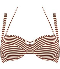 holi vintage plunge balcony bikini top | wired padded red-ecru - 36c