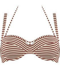 holi vintage plunge balcony bikini top | wired padded red-ecru - 38ddd/f