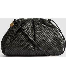 reiss ellena - raffia pouch clutch bag in black, womens