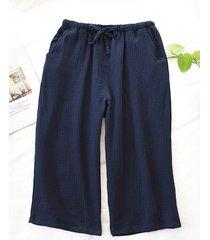 pijamas japoneses para hombres pantalones caseros algodón lavado suelto pijamas cómodos