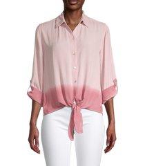 beach lunch lounge women's yumi ombré self-tie shirt - blush ombre - size s
