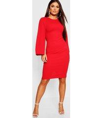 petite cape sleeve midi dress, red