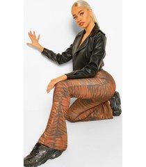 monochrome tijgerprint jersey broek met wijd uitlopende pijpen, roest