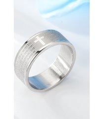 anillo con estampado de texto cruzado de escritura de moda para hombre