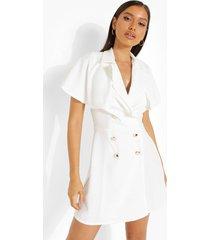 blazer jurk met cape detail, white