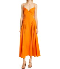 self-portrait burnt orange tie bodice dress, size 8 at nordstrom