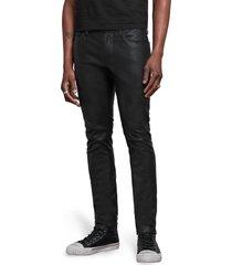 men's john varvatos wight skinny straight leg jeans with sheepskin knee patch, size 38 x 32 - black