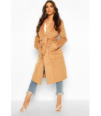 brushed wool look robe coat, camel