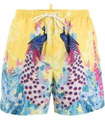 dsquared2 peacock swim shorts - yellow