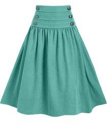 mock button lace up high waist a line skirt