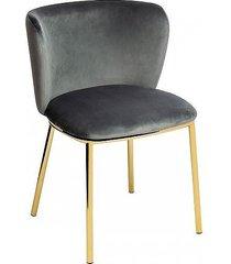 krzesło metalowe welurowe jessy dark grey
