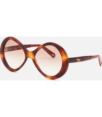 chloé women's oversized acetate sunglasses - havana/gradient brown