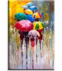 tela canvas guarda-chuvas coloridos grande - multicolorido - dafiti