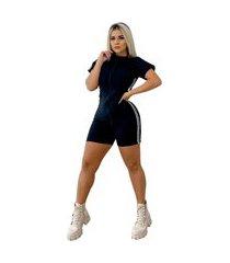 macaquinho feminino curto com listra lateral + brinde48