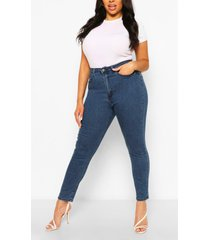plus butt shaper high rise skinny jeans, mid blue