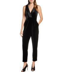 women's eliza j sleeveless velvet jumpsuit, size 2 - black