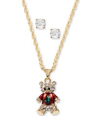 charter club gold-tone crystal teddy bear pendant necklace & stud earrings set, created for macy's