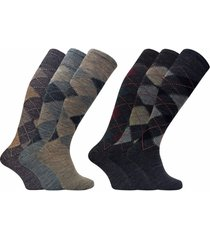 3 pack mens thin warm extra long knee high argyle pattern lambs wool dress socks