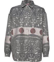abi collar shirt blus långärmad grå r/h studio