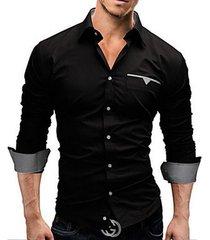 camisa slim fit hombre pocket-negro