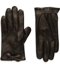 women's kate spade new york logo bow leather tech gloves, size small - black