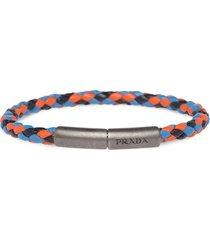 prada braided leather wrist strap - blue