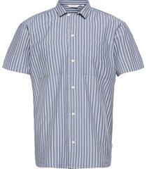 alvin ss cc striped shirt kortärmad skjorta blå casual friday