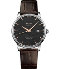 mido baroncelli automatic bracelet watch, 40mm in brown/black/silver at nordstrom