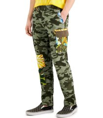 sun + stone men's severin relaxed-fit stretch camouflage patchwork cargo pants, created for macy's