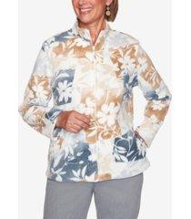 women's missy glacier lake floral patchwork polar fleece jacket