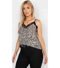 plusmaat hemdje met luipaardprint, steenrood