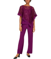 r & m richards 2-pc. sequinned poncho & pants set