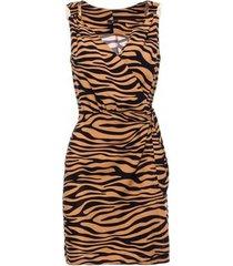jurk be b156 mini mouwloos jurkje met zebraprint - karamel