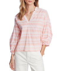 women's court & rowe braided gauze stripe v-neck top, size large - pink