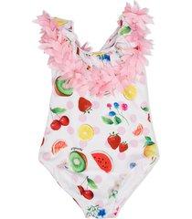monnalisa summer fruits swimsuit - white